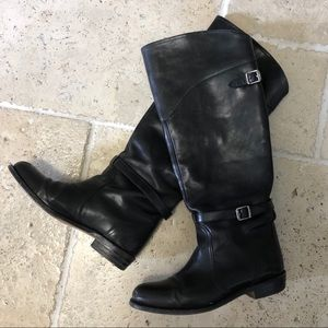 Frye Black Knee High Leather Boots El Dorado